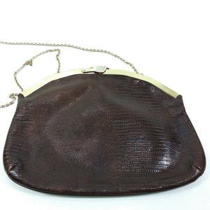 Vintage Chain Clutch Purse Genuine Lizard Handbag